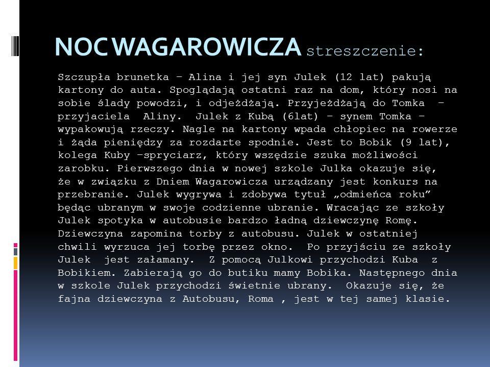 NOC WAGAROWICZA streszczenie: Szczupła brunetka – Alina i jej syn Julek (12 lat) pakują kartony do auta.