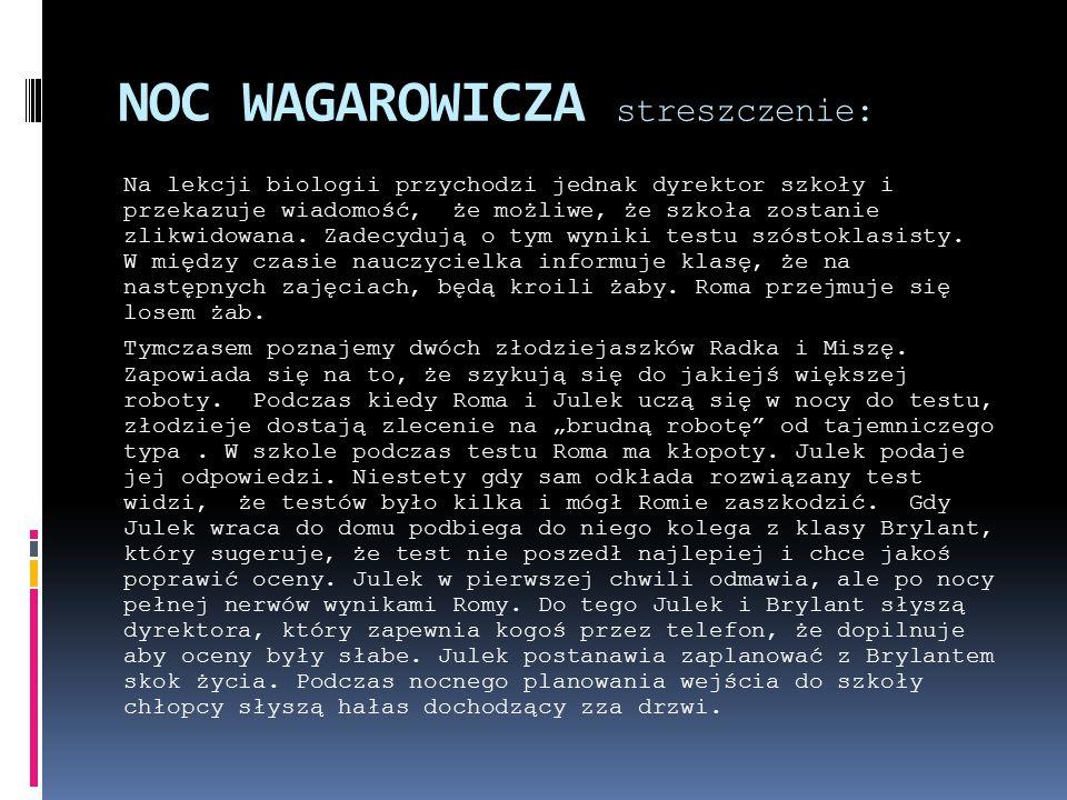 NOC WAGAROWICZA streszczenie: Na lekcji biologii przychodzi jednak dyrektor szkoły i przekazuje wiadomość, że możliwe, że szkoła zostanie zlikwidowana.