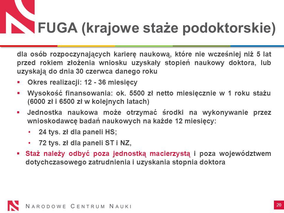 20 FUGA (krajowe staże podoktorskie) dla osób rozpoczynających karierę naukową, które nie wcześniej niż 5 lat przed rokiem złożenia wniosku uzyskały s