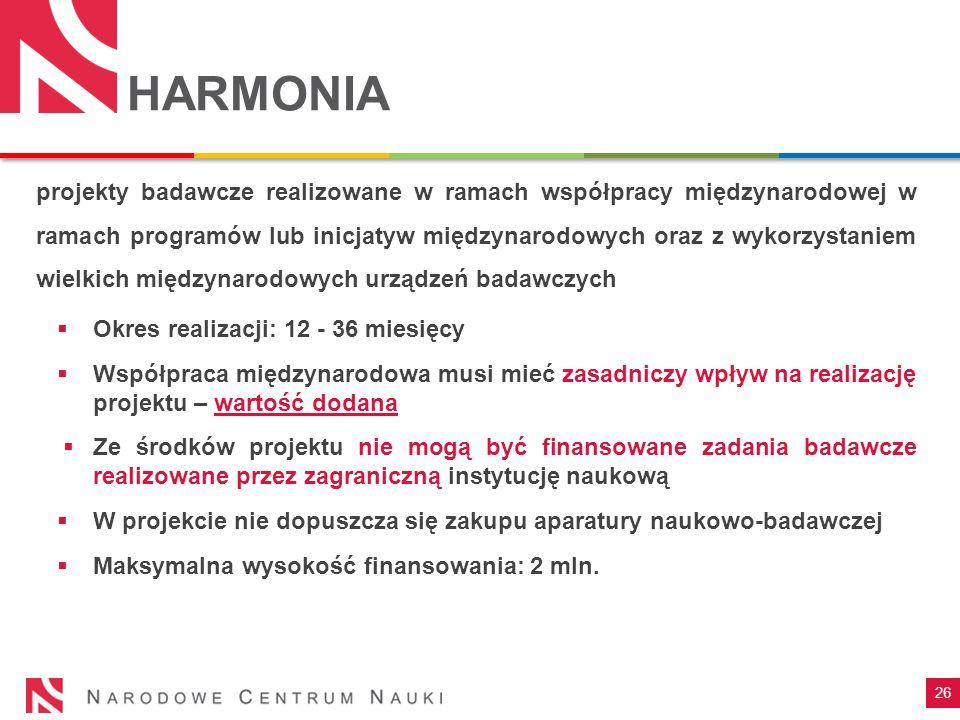 26 HARMONIA projekty badawcze realizowane w ramach współpracy międzynarodowej w ramach programów lub inicjatyw międzynarodowych oraz z wykorzystaniem