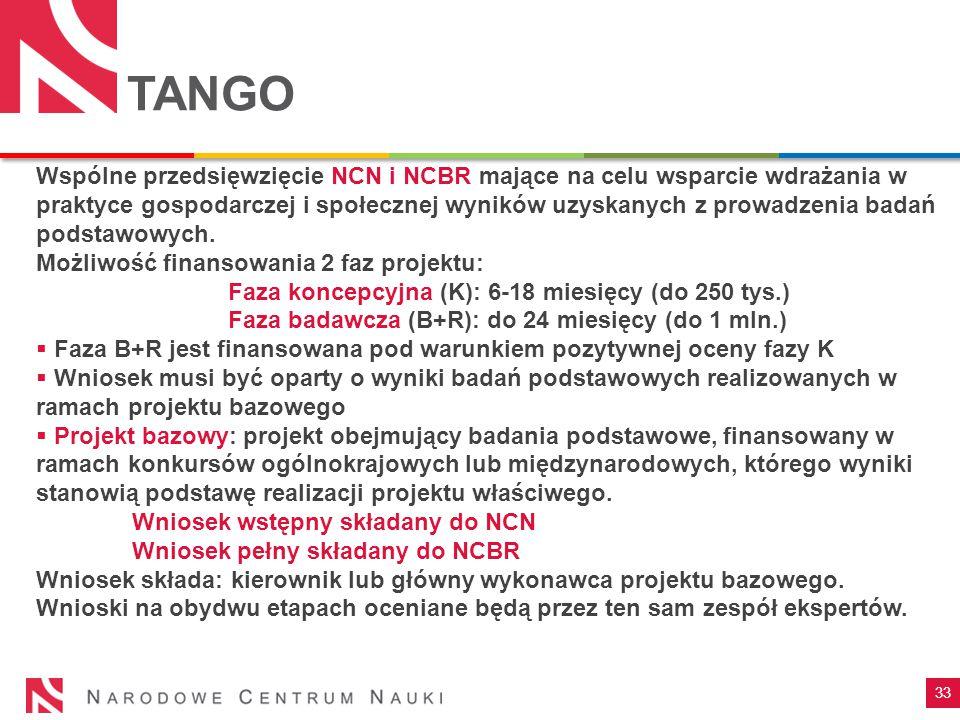 33 TANGO Wspólne przedsięwzięcie NCN i NCBR mające na celu wsparcie wdrażania w praktyce gospodarczej i społecznej wyników uzyskanych z prowadzenia ba