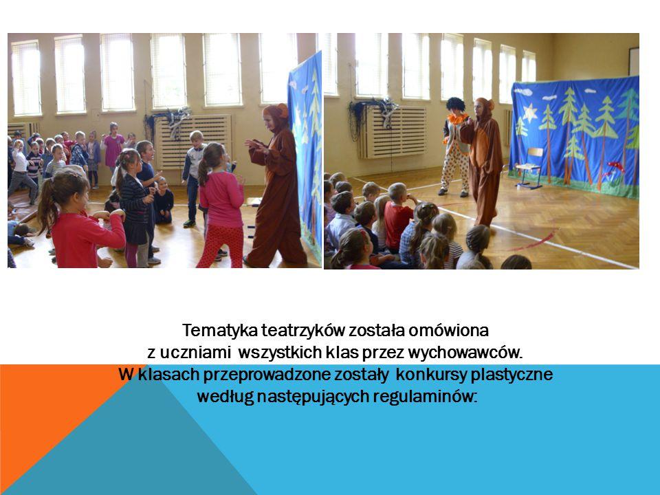 Tematyka teatrzyków została omówiona z uczniami wszystkich klas przez wychowawców. W klasach przeprowadzone zostały konkursy plastyczne według następu