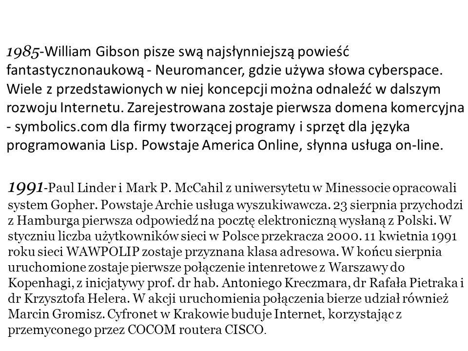 1985 -William Gibson pisze swą najsłynniejszą powieść fantastycznonaukową - Neuromancer, gdzie używa słowa cyberspace.