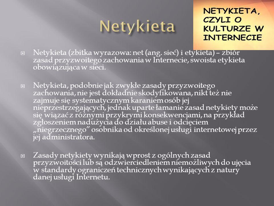  Netykieta (zbitka wyrazowa: net (ang.