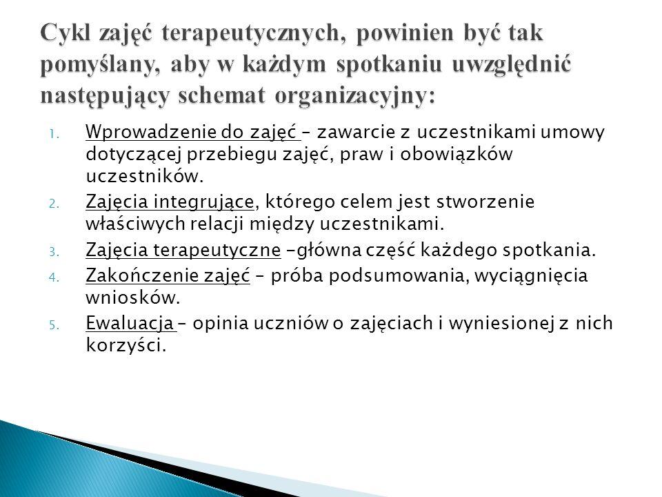 1. Wprowadzenie do zajęć – zawarcie z uczestnikami umowy dotyczącej przebiegu zajęć, praw i obowiązków uczestników. 2. Zajęcia integrujące, którego ce