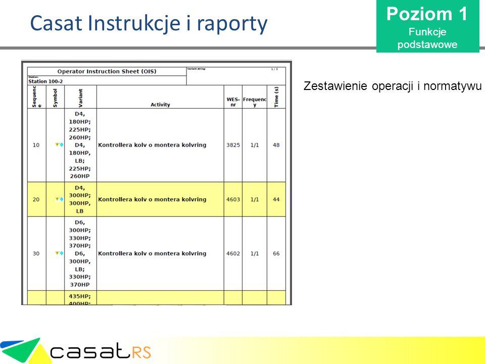 Casat Instrukcje i raporty Zestawienie operacji i normatywu Poziom 1 Funkcje podstawowe