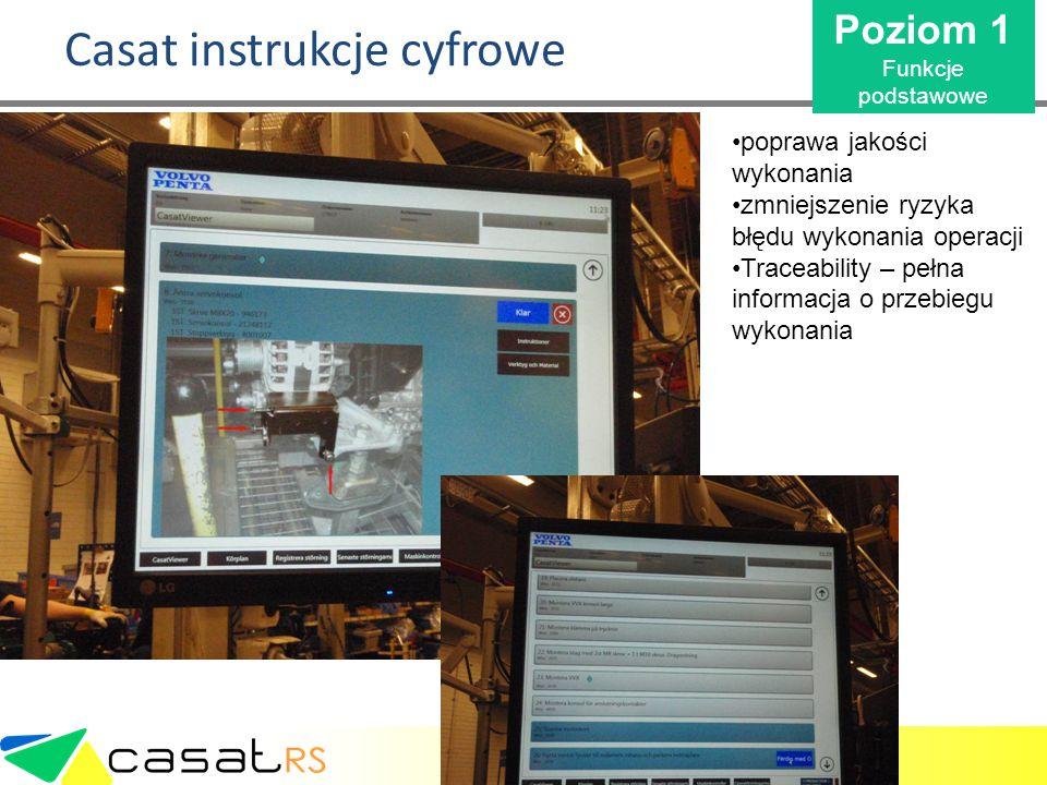 Casat instrukcje cyfrowe Poziom 1 Funkcje podstawowe poprawa jakości wykonania zmniejszenie ryzyka błędu wykonania operacji Traceability – pełna infor