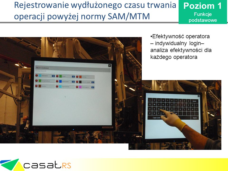 Rejestrowanie wydłużonego czasu trwania operacji powyżej normy SAM/MTM Poziom 1 Funkcje podstawowe Efektywność operatora – indywidualny login– analiza