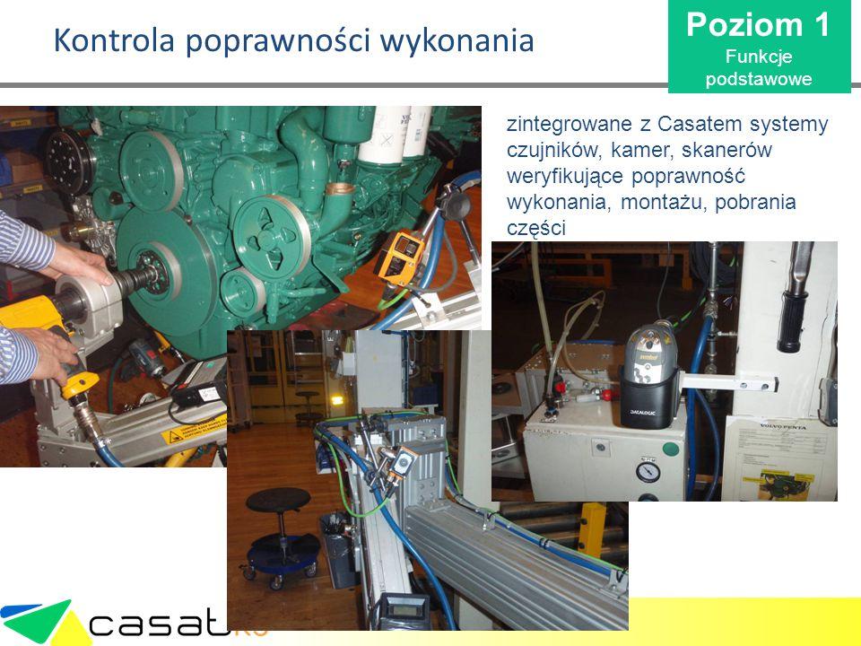 Kontrola poprawności wykonania zintegrowane z Casatem systemy czujników, kamer, skanerów weryfikujące poprawność wykonania, montażu, pobrania części P