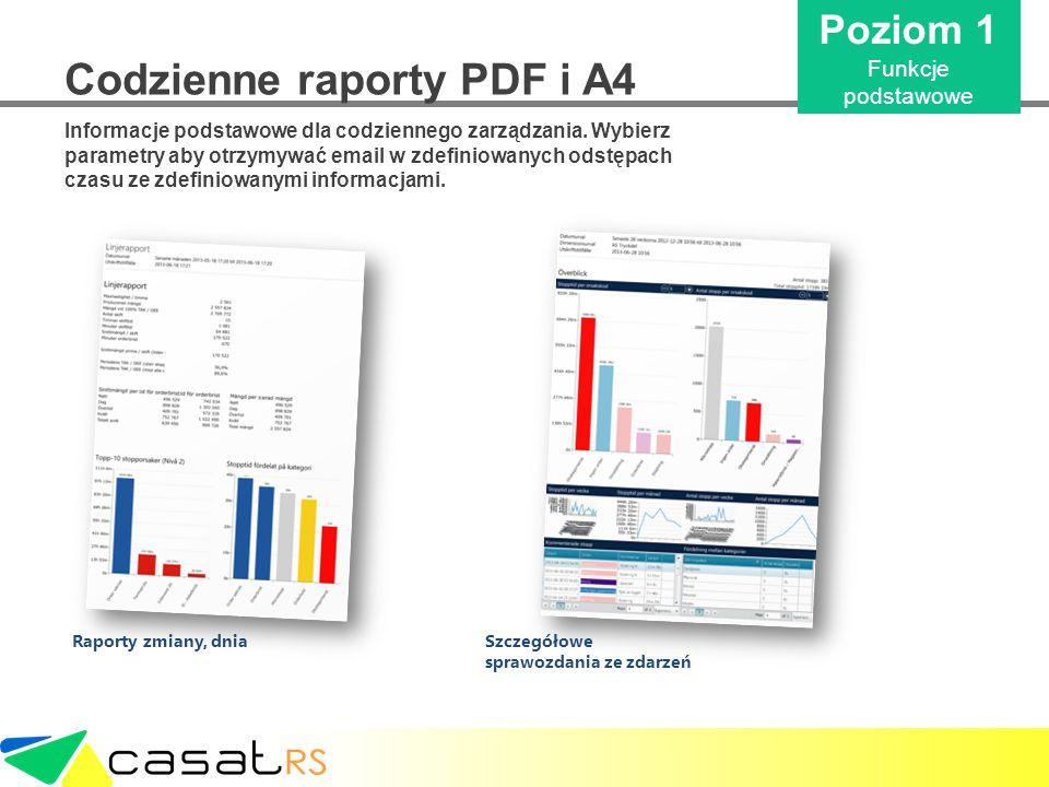 Codzienne raporty PDF i A4 Informacje podstawowe dla codziennego zarządzania. Wybierz parametry aby otrzymywać email w zdefiniowanych odstępach czasu