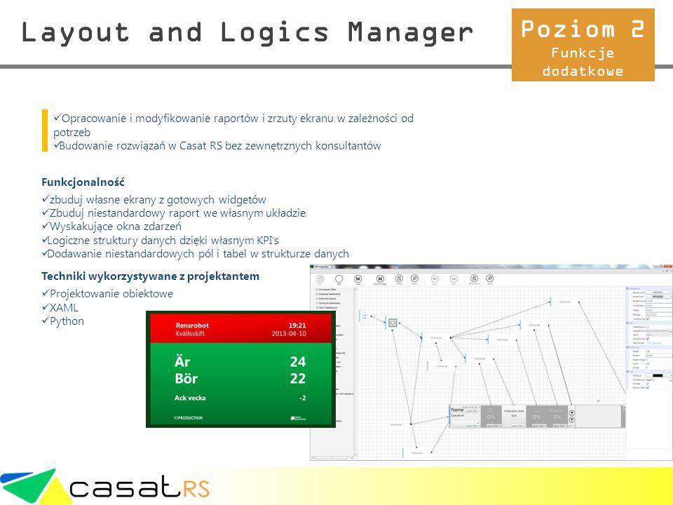 Layout and Logics Manager Opracowanie i modyfikowanie raportów i zrzuty ekranu w zależności od potrzeb Budowanie rozwiązań w Casat RS bez zewnętrznych