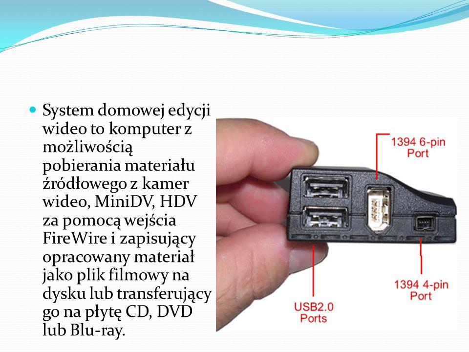 System domowej edycji wideo to komputer z możliwością pobierania materiału źródłowego z kamer wideo, MiniDV, HDV za pomocą wejścia FireWire i zapisujący opracowany materiał jako plik filmowy na dysku lub transferujący go na płytę CD, DVD lub Blu-ray.