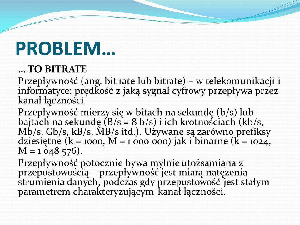 PROBLEM… … TO BITRATE Przepływność (ang.