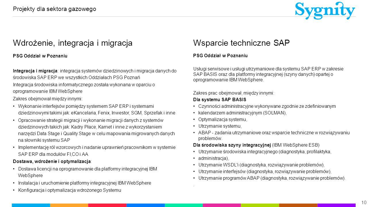 Projekty dla sektora gazowego 10 Wdrożenie, integracja i migracja PSG Oddział w Poznaniu Integracja i migracja: integracja systemów dziedzinowych i mi