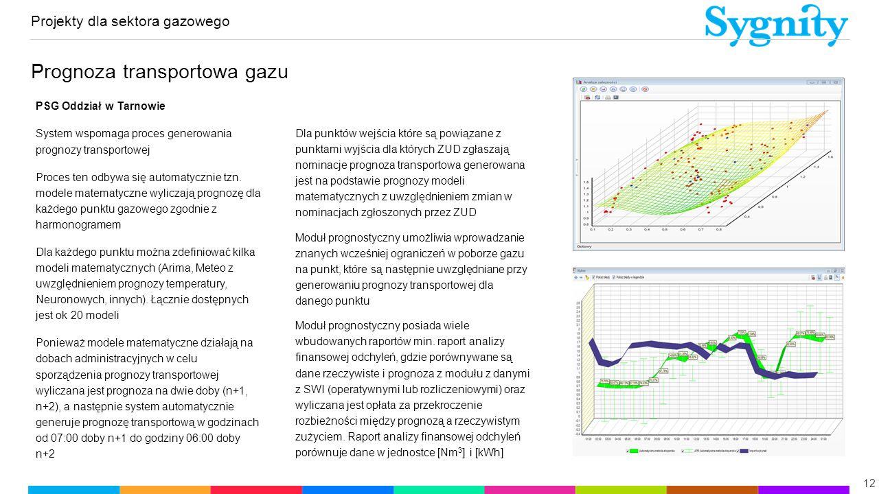 Projekty dla sektora gazowego 12 Prognoza transportowa gazu PSG Oddział w Tarnowie System wspomaga proces generowania prognozy transportowej Proces te