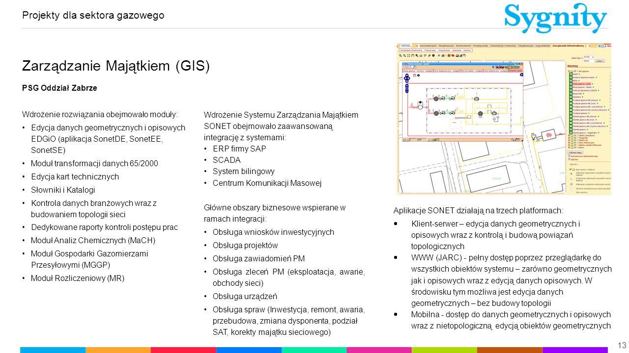 Projekty dla sektora gazowego 13 Zarządzanie Majątkiem (GIS) PSG Oddział Zabrze Wdrożenie rozwiązania obejmowało moduły: Edycja danych geometrycznych