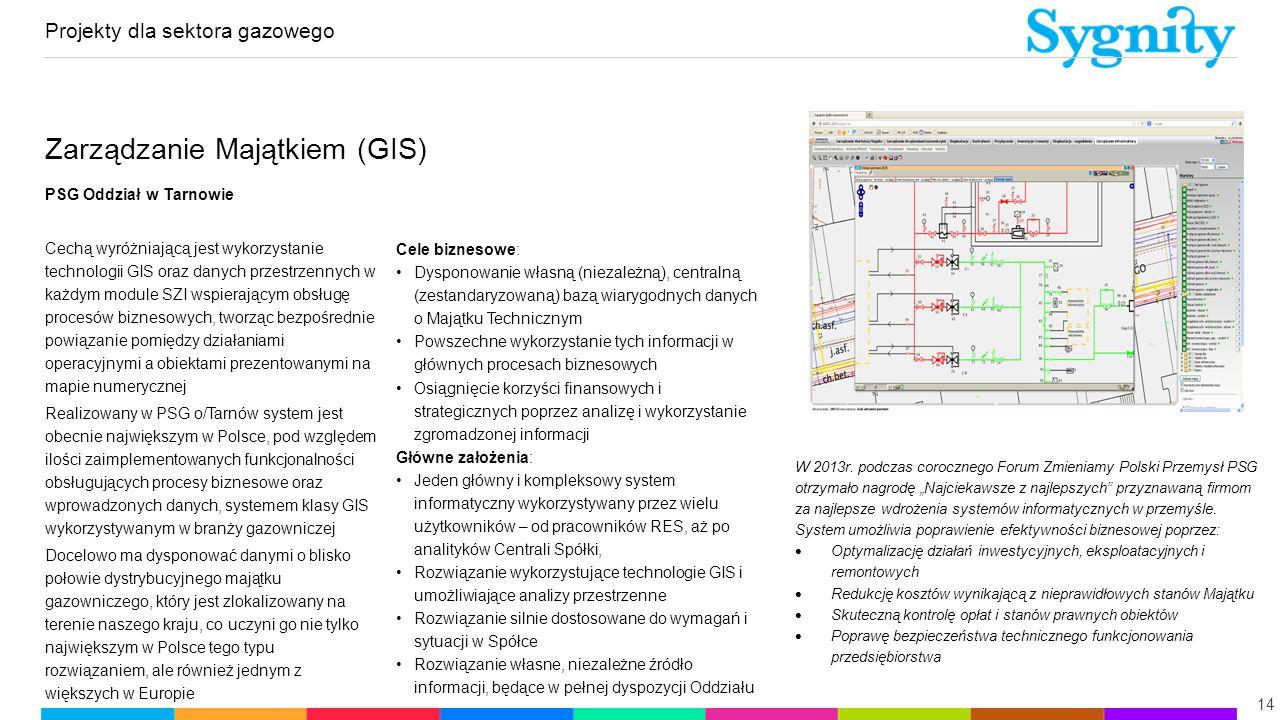 Projekty dla sektora gazowego 14 Zarządzanie Majątkiem (GIS) PSG Oddział w Tarnowie Cechą wyróżniającą jest wykorzystanie technologii GIS oraz danych