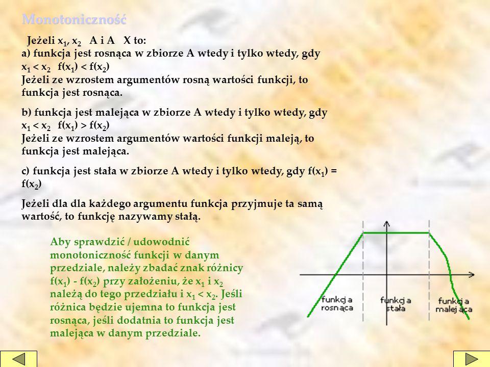 Monotoniczność Jeżeli x 1, x 2 A i A X to: a) funkcja jest rosnąca w zbiorze A wtedy i tylko wtedy, gdy x 1 < x 2 f(x 1 ) < f(x 2 ) Jeżeli ze wzrostem argumentów rosną wartości funkcji, to funkcja jest rosnąca.