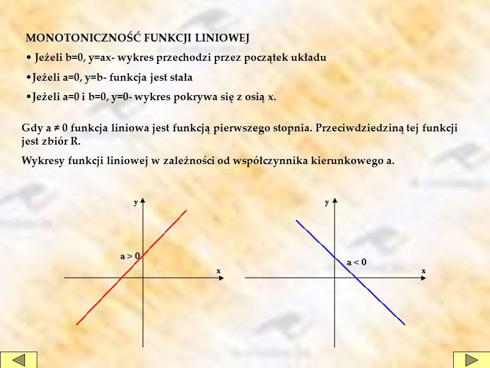 MONOTONICZNOŚĆ FUNKCJI LINIOWEJ Jeżeli b=0, y=ax- wykres przechodzi przez początek układu Jeżeli a=0, y=b- funkcja jest stała Jeżeli a=0 i b=0, y=0- wykres pokrywa się z osią x.