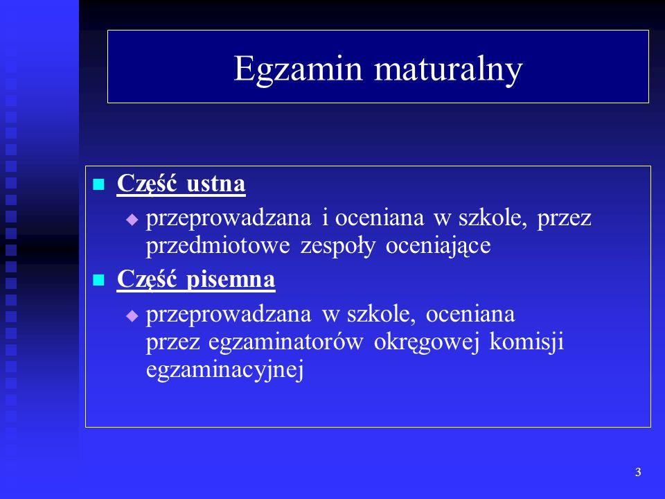 Egzamin maturalny Obejmuje przedmioty:   obowiązkowe (niezbędne do uzyskania świadectwa dojrzałości):   dwa w części ustnej: j.polski, j.obcy(bez określania poziomu)   trzy w części pisemnej na poziomie podstawowym: j.polski, j.obcy, matematyka   jeden w części pisemnej na poziomie rozszerzonym (wybrany przez zdajacego)   dodatkowo wybrane (0 - 5) poziom rozszerzony 4