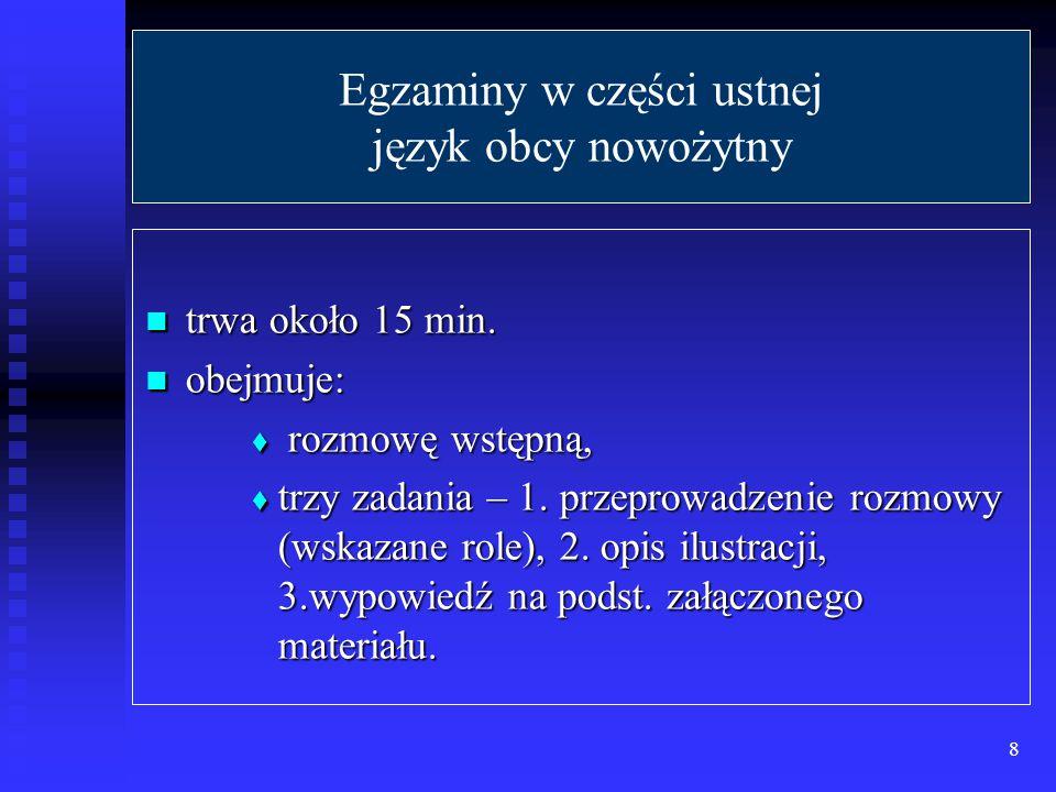 Egzaminy w części ustnej język obcy nowożytny trwa około 15 min.