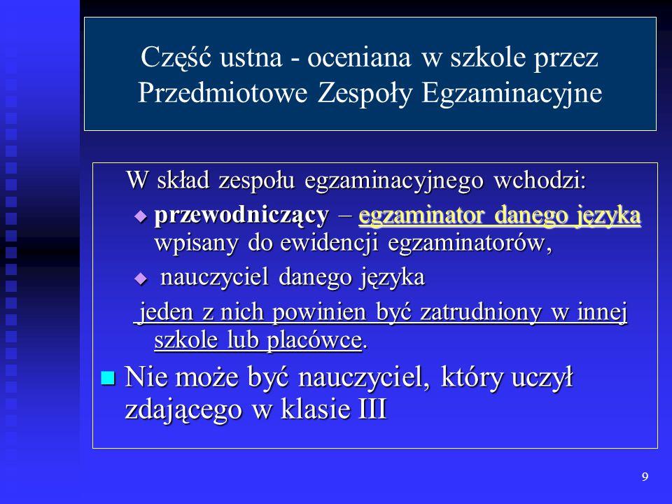 Wyniki części ustnej egzaminu są ustalane przez zespoły przedmiotowe są ustalane przez zespoły przedmiotowe są wyrażone w procentach są wyrażone w procentach są ostateczne są ostateczne są ogłaszane w dniu egzaminu są ogłaszane w dniu egzaminu Aby zdać część ustną egzaminu należy uzyskać co najmniej 30% punktów możliwych do uzyskania z każdego ze zdawanych przedmiotów obowiązkowych: język polski, język obcy nowożytny.