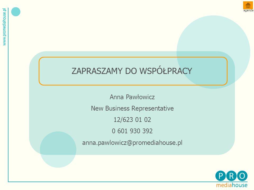 Anna Pawłowicz New Business Representative 12/623 01 02 0 601 930 392 anna.pawlowicz@promediahouse.pl ZAPRASZAMY DO WSPÓŁPRACY agenda