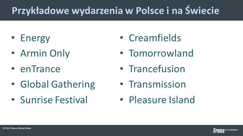 © 2011 iTrance Media Polska Przykładowe wydarzenia w Polsce i na Świecie Energy Armin Only enTrance Global Gathering Sunrise Festival Creamfields Tomorrowland Trancefusion Transmission Pleasure Island