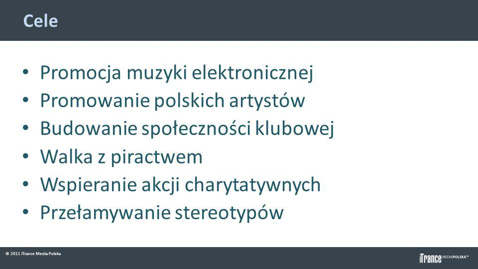 © 2011 iTrance Media Polska Cele Promocja muzyki elektronicznej Promowanie polskich artystów Budowanie społeczności klubowej Walka z piractwem Wspiera