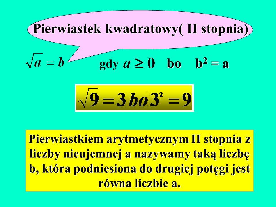 Pierwiastek kwadratowy( II stopnia) bo b 2 = a gdy bo b 2 = a Pierwiastkiem arytmetycznym II stopnia z liczby nieujemnej a nazywamy taką liczbę b, która podniesiona do drugiej potęgi jest równa liczbie a.