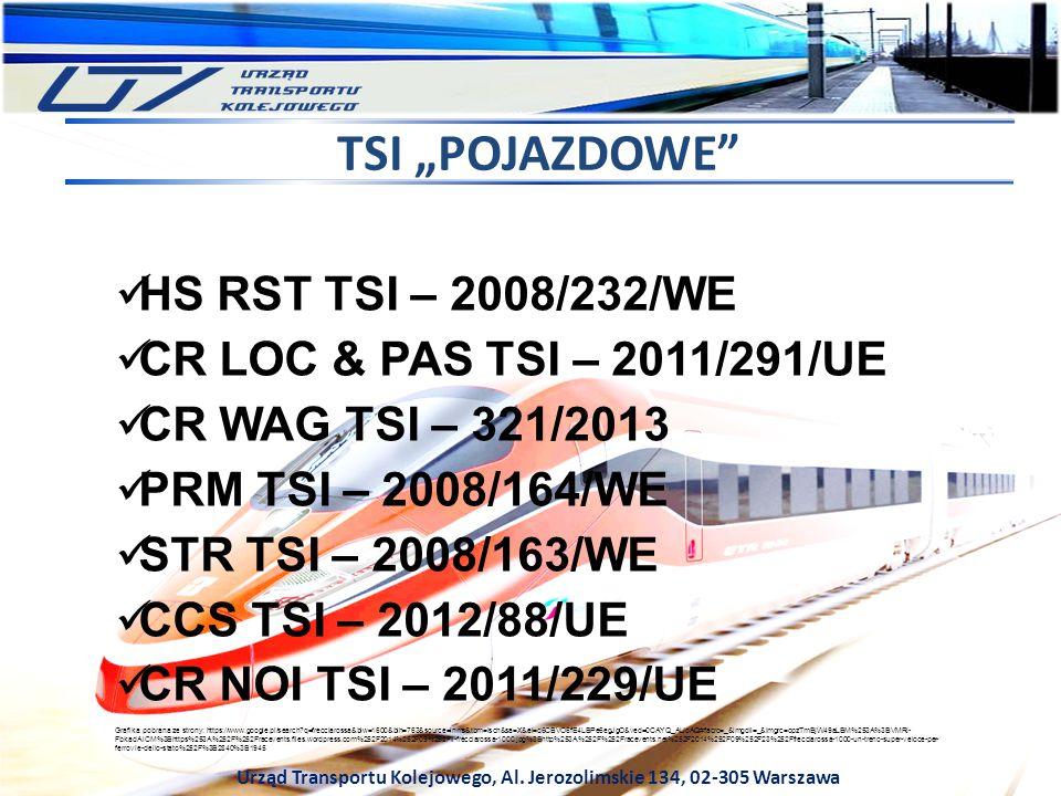 """Urząd Transportu Kolejowego, Al. Jerozolimskie 134, 02-305 Warszawa TSI """"POJAZDOWE"""" HS RST TSI – 2008/232/WE CR LOC & PAS TSI – 2011/291/UE CR WAG TSI"""