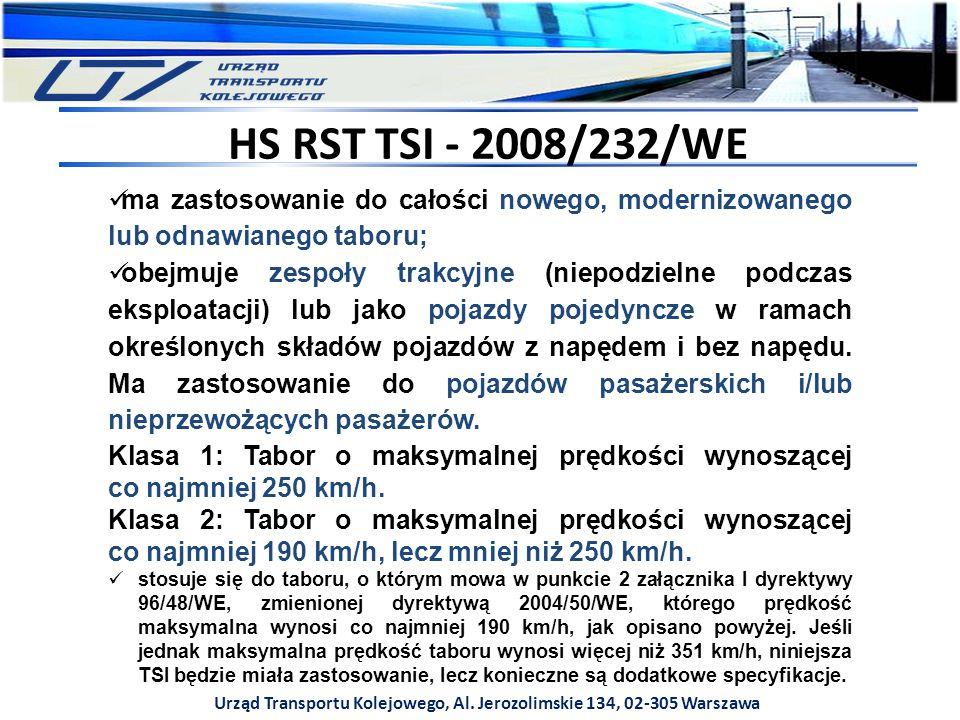 Urząd Transportu Kolejowego, Al. Jerozolimskie 134, 02-305 Warszawa HS RST TSI - 2008/232/WE ma zastosowanie do całości nowego, modernizowanego lub od