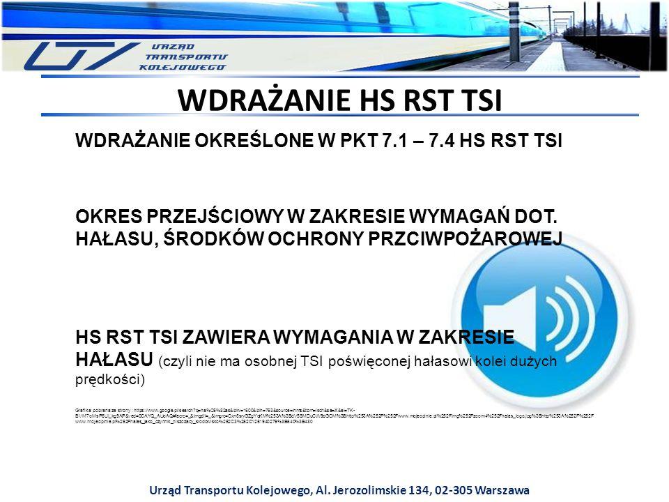 Urząd Transportu Kolejowego, Al. Jerozolimskie 134, 02-305 Warszawa WDRAŻANIE HS RST TSI WDRAŻANIE OKREŚLONE W PKT 7.1 – 7.4 HS RST TSI OKRES PRZEJŚCI