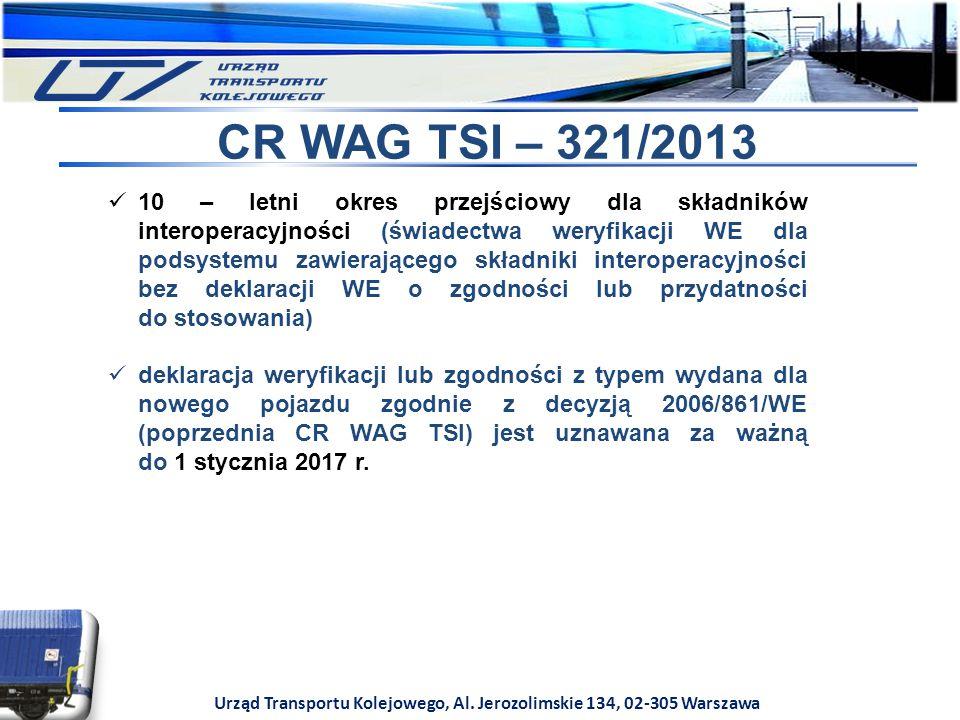 Urząd Transportu Kolejowego, Al. Jerozolimskie 134, 02-305 Warszawa CR WAG TSI – 321/2013 10 – letni okres przejściowy dla składników interoperacyjnoś