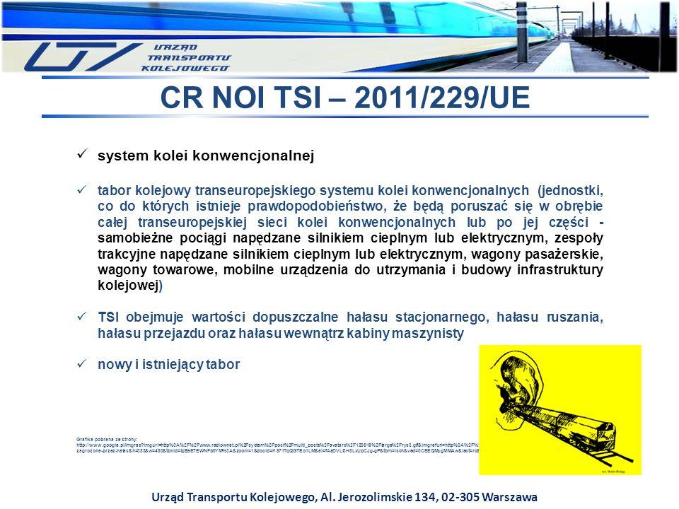 Urząd Transportu Kolejowego, Al. Jerozolimskie 134, 02-305 Warszawa CR NOI TSI – 2011/229/UE system kolei konwencjonalnej tabor kolejowy transeuropejs