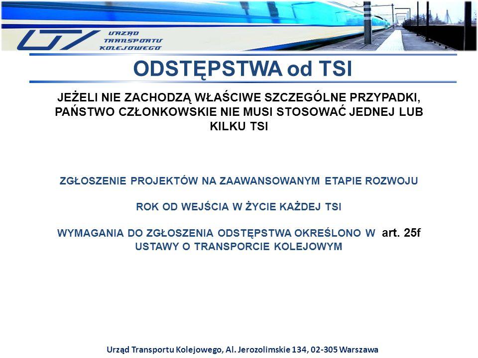 Urząd Transportu Kolejowego, Al. Jerozolimskie 134, 02-305 Warszawa ODSTĘPSTWA od TSI JEŻELI NIE ZACHODZĄ WŁAŚCIWE SZCZEGÓLNE PRZYPADKI, PAŃSTWO CZŁON