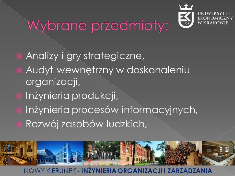  Analizy i gry strategiczne,  Audyt wewnętrzny w doskonaleniu organizacji,  Inżynieria produkcji,  Inżynieria procesów informacyjnych,  Rozwój za