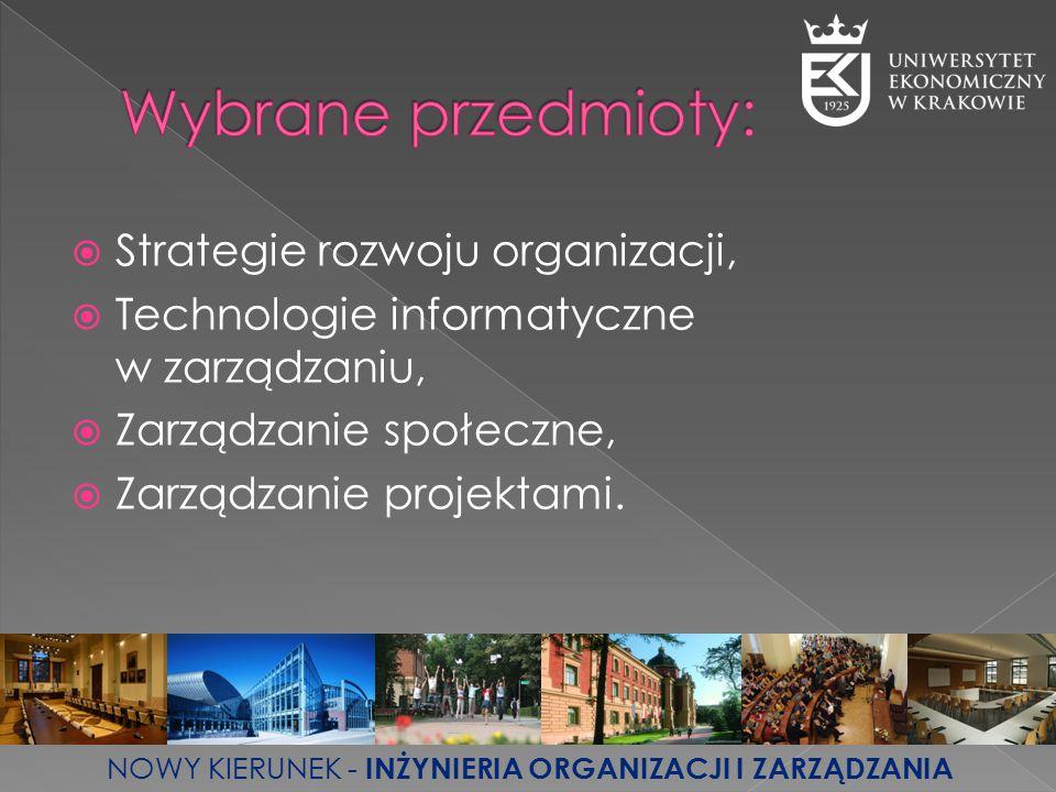  Strategie rozwoju organizacji,  Technologie informatyczne w zarządzaniu,  Zarządzanie społeczne,  Zarządzanie projektami. NOWY KIERUNEK - INŻYNIE