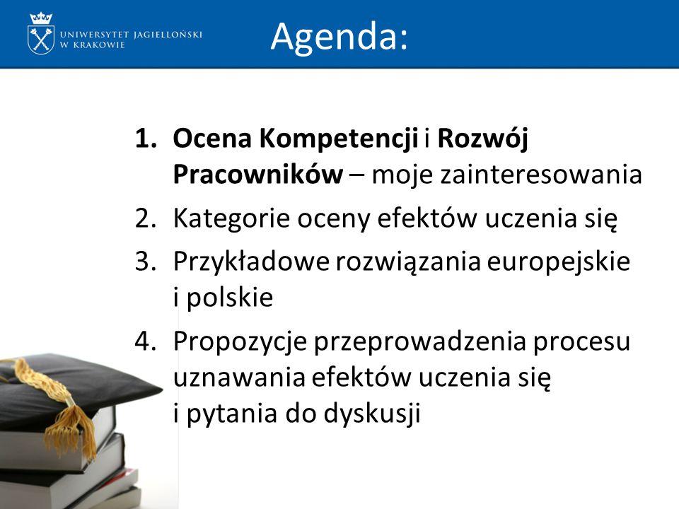 Agenda: 1.Ocena Kompetencji i Rozwój Pracowników – moje zainteresowania 2.Kategorie oceny efektów uczenia się 3.Przykładowe rozwiązania europejskie i