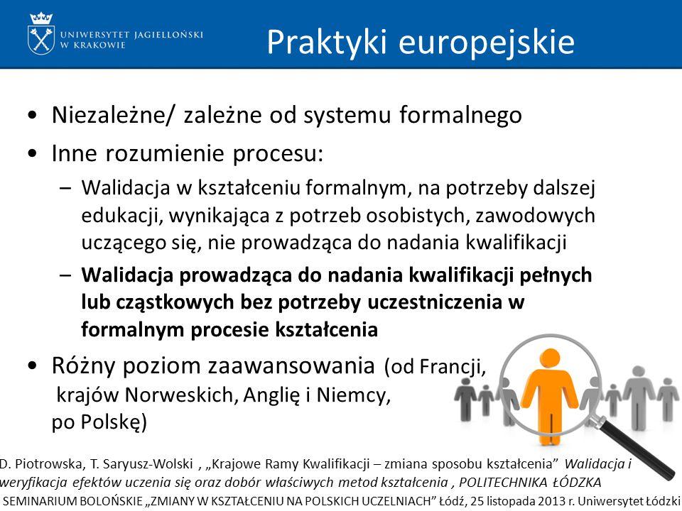 Praktyki europejskie Niezależne/ zależne od systemu formalnego Inne rozumienie procesu: –Walidacja w kształceniu formalnym, na potrzeby dalszej edukac