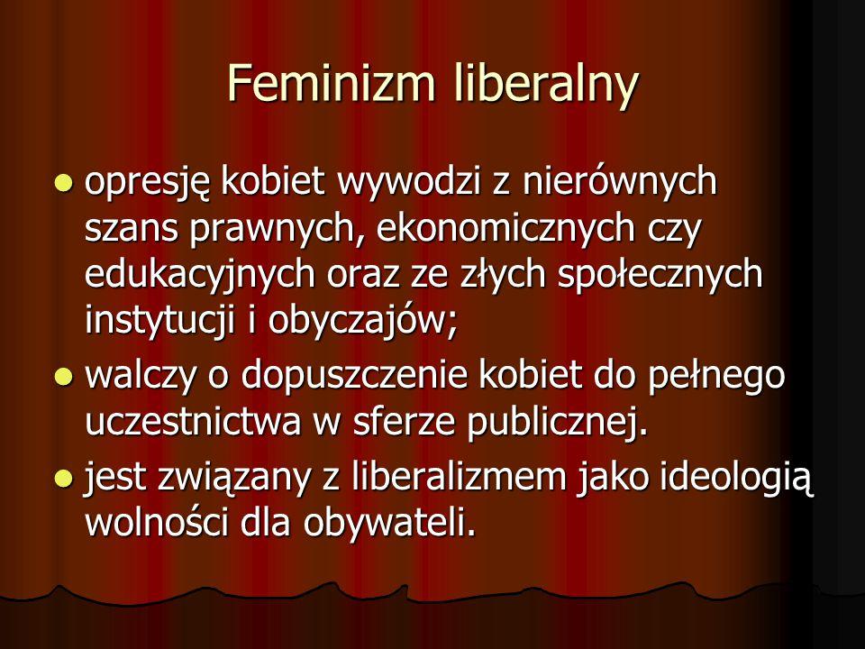 Feminizm liberalny opresję kobiet wywodzi z nierównych szans prawnych, ekonomicznych czy edukacyjnych oraz ze złych społecznych instytucji i obyczajów