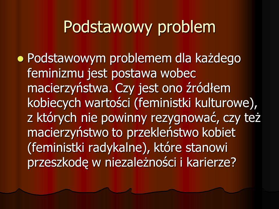 Podstawowy problem Podstawowym problemem dla każdego feminizmu jest postawa wobec macierzyństwa. Czy jest ono źródłem kobiecych wartości (feministki k