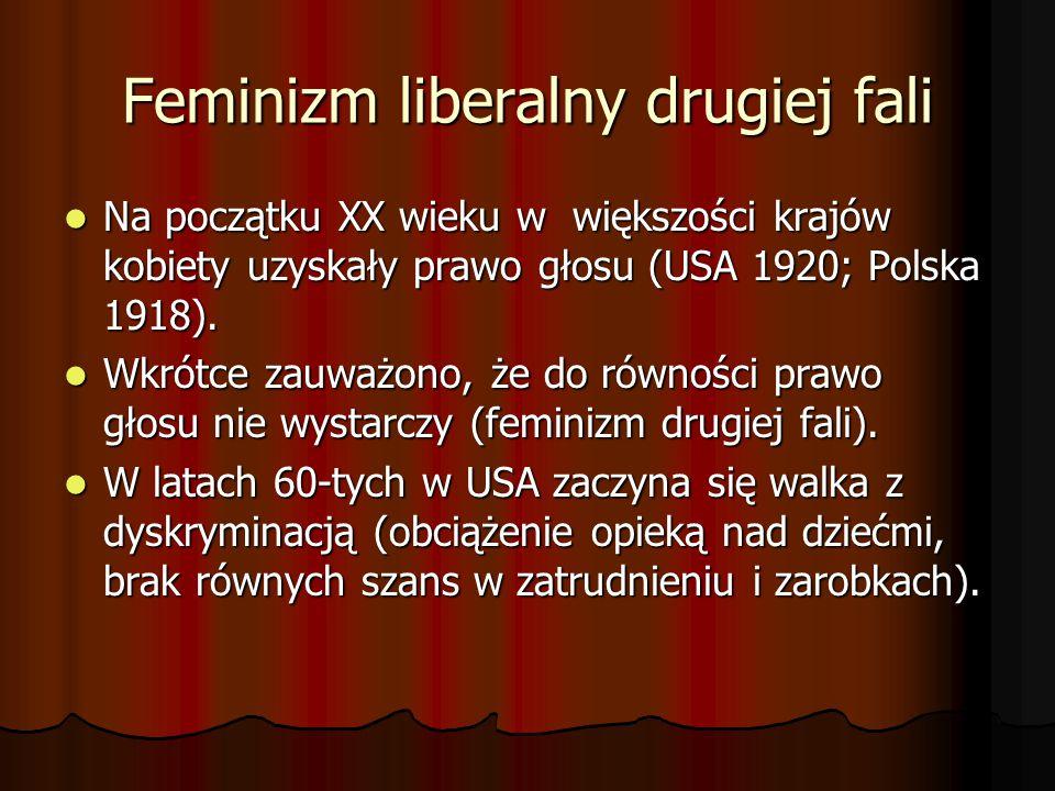 Feminizm liberalny drugiej fali Na początku XX wieku w większości krajów kobiety uzyskały prawo głosu (USA 1920; Polska 1918). Na początku XX wieku w