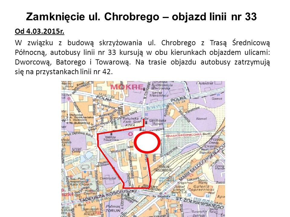 Zamknięcie ul. Chrobrego – objazd linii nr 33 Od 4.03.2015r. W związku z budową skrzyżowania ul. Chrobrego z Trasą Średnicową Północną, autobusy linii