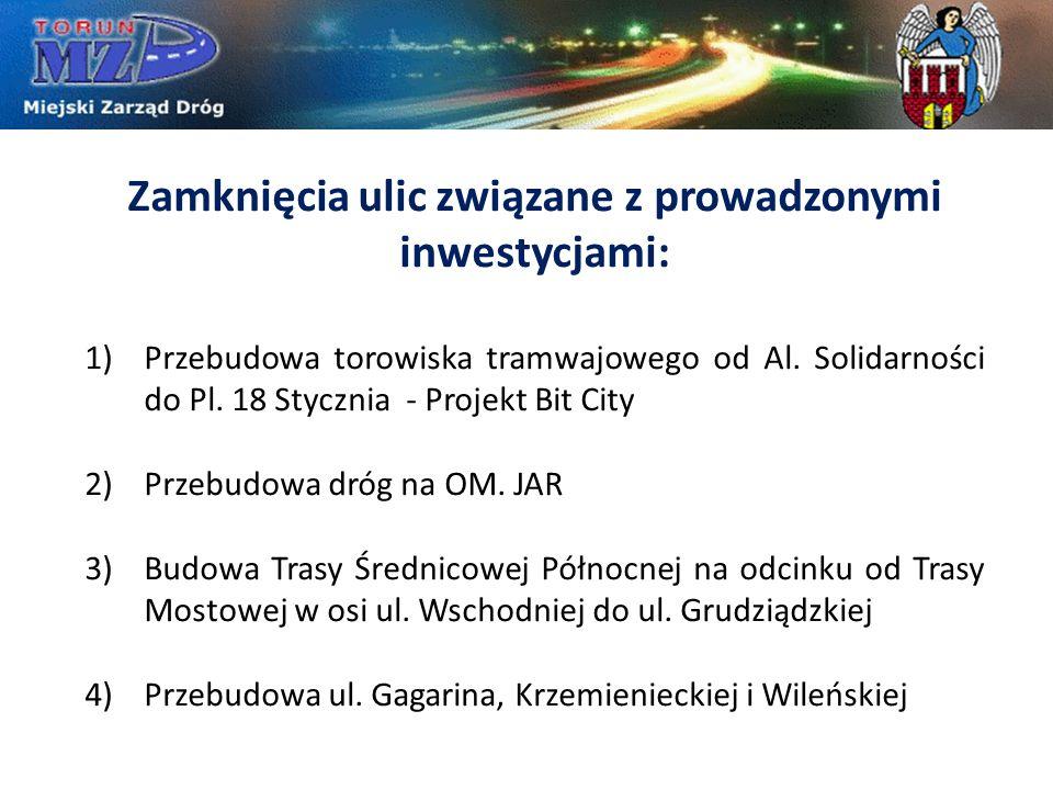 Zamknięcia ulic związane z prowadzonymi inwestycjami: 1)Przebudowa torowiska tramwajowego od Al. Solidarności do Pl. 18 Stycznia - Projekt Bit City 2)