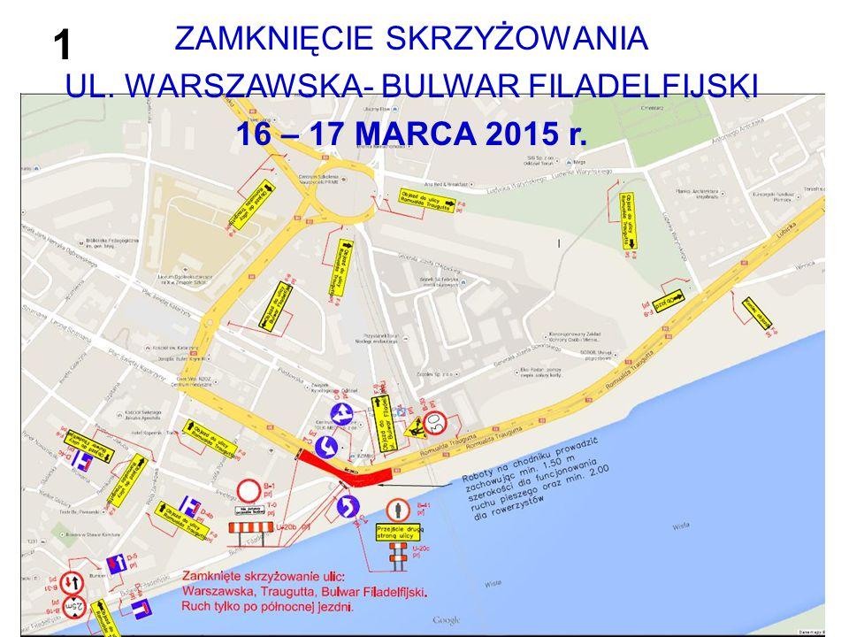 ZAMKNIĘCIE SKRZYŻOWANIA UL. WARSZAWSKA- BULWAR FILADELFIJSKI 16 – 17 MARCA 2015 r. 1