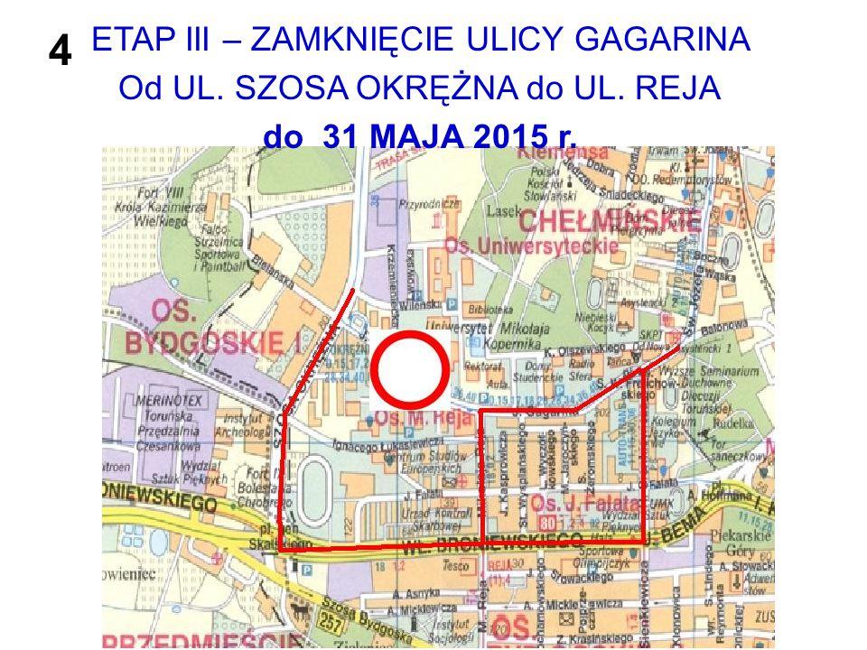 ETAP III – ZAMKNIĘCIE ULICY GAGARINA Od UL. SZOSA OKRĘŻNA do UL. REJA do 31 MAJA 2015 r. 4