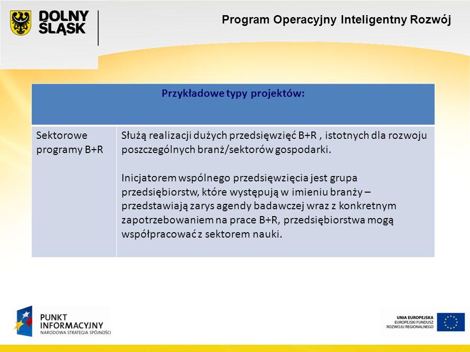 Program Operacyjny Inteligentny Rozwój Przykładowe typy projektów: Sektorowe programy B+R Służą realizacji dużych przedsięwzięć B+R, istotnych dla rozwoju poszczególnych branż/sektorów gospodarki.