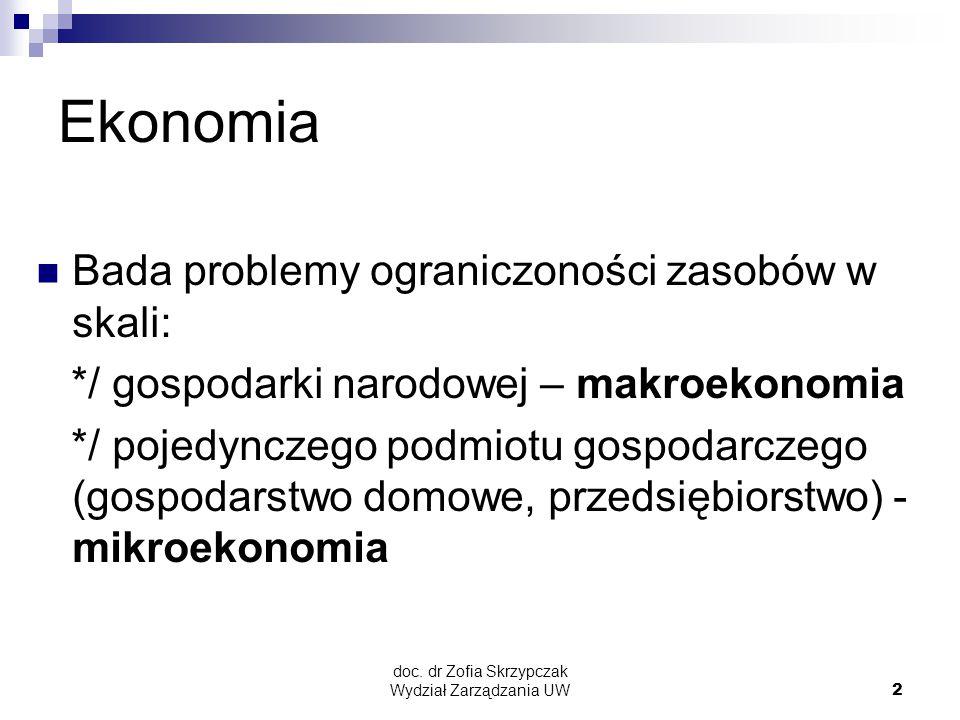 doc. dr Zofia Skrzypczak Wydział Zarządzania UW2 Ekonomia Bada problemy ograniczoności zasobów w skali: */ gospodarki narodowej – makroekonomia */ poj
