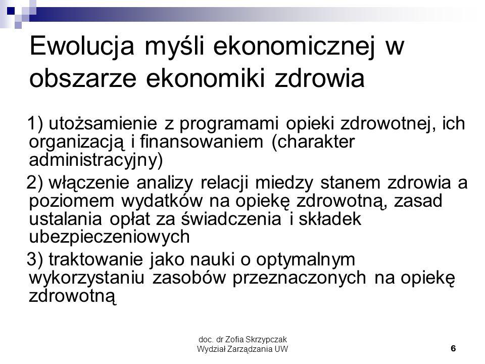 doc. dr Zofia Skrzypczak Wydział Zarządzania UW6 Ewolucja myśli ekonomicznej w obszarze ekonomiki zdrowia 1) utożsamienie z programami opieki zdrowotn